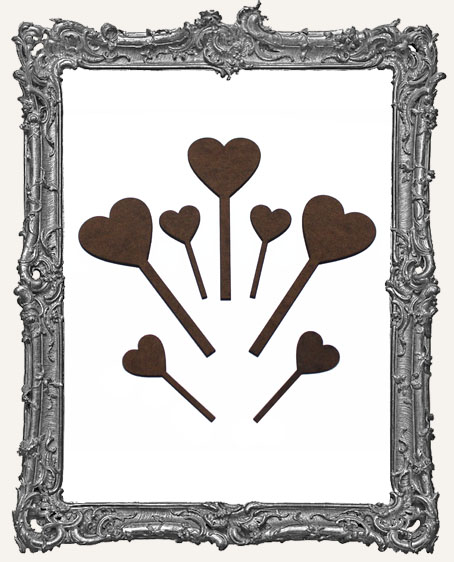Heart Stick Cut-Outs - 7 Pieces
