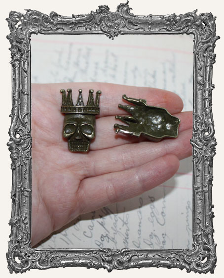 Antique Brass Crowned Skull Charms - Set of 2