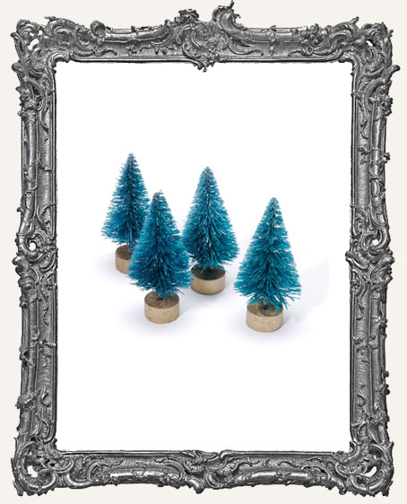 1.5 Inch Green Bottle Brush Trees - Set of 4