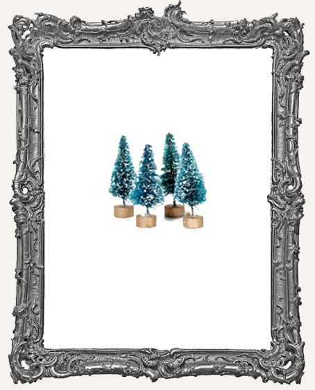 1.5 Inch FROSTED Green Bottle Brush Trees - Set of 4