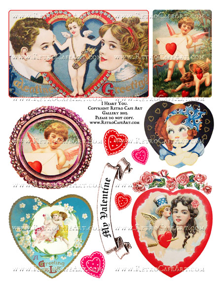 I Heart You Collage Sheet