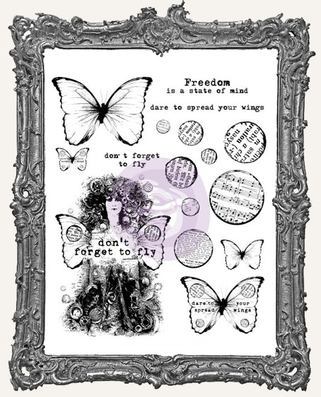 Finnabair Cling Mount Stamp Set - Dont Forget to Fly