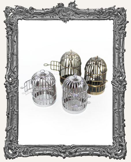 Large 3-D Bird Cage Charm - Silver or Antique Brass