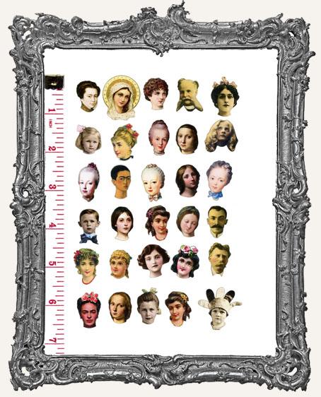 30 MINI Fairy Doll Head Paper Cuts