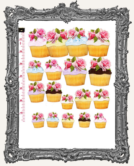 18 Rosey Cupcake Paper Cuts
