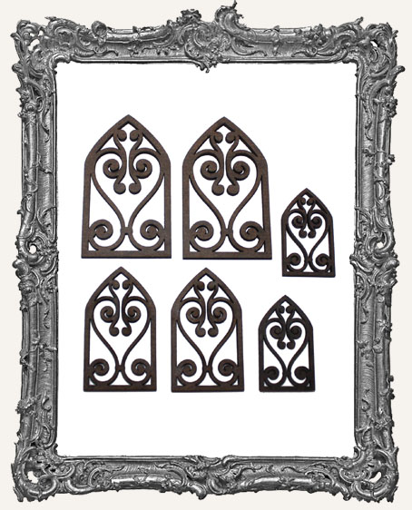 Gothic Arch Scroll Window Cut Outs - 6 Pieces