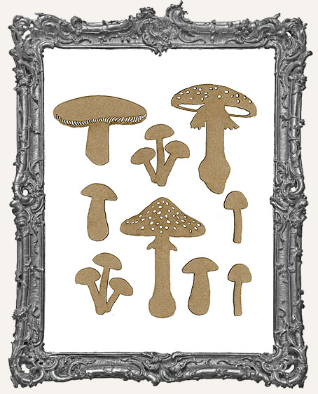 Chipboard Mushroom Cut-Outs - 9 Pieces