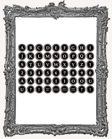 54 Vintage Typewriter Key Paper Cuts - BLACK