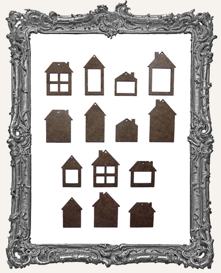 Little Houses Cut-Outs WITH CHARM HOLES - 14 Pieces