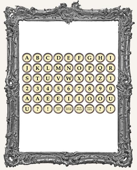 54 Vintage Typewriter Key Paper Cuts - IVORY