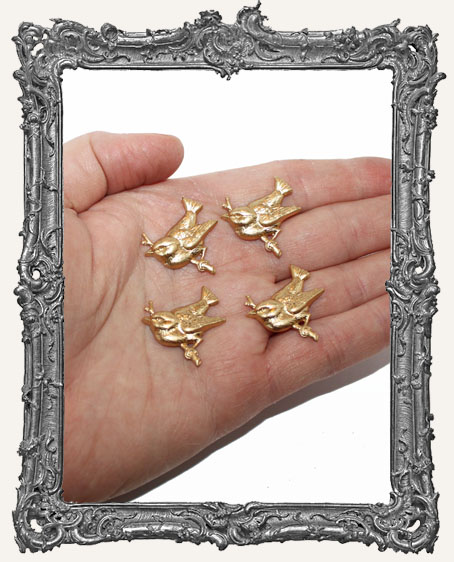 Brass Bird On a Branch Charms - Set of 4