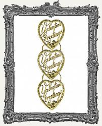 German Dresden Gold Vintage Valentine Heart Greeting - 3 Pieces