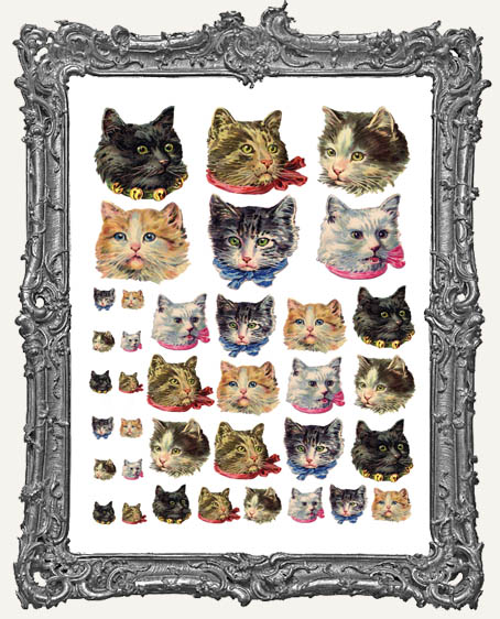36 Vintage Kitty Head Paper Cuts