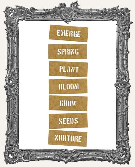 Mini Stencil Words Set of 7 - Emerge Spring