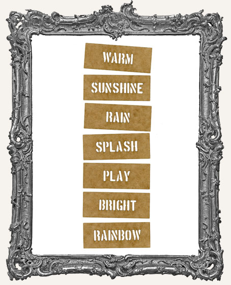 Mini Stencil Words Set of 7 - Warm Sunshine