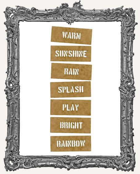 Mini Stencil Words Set of 7 - Warm Sunshine