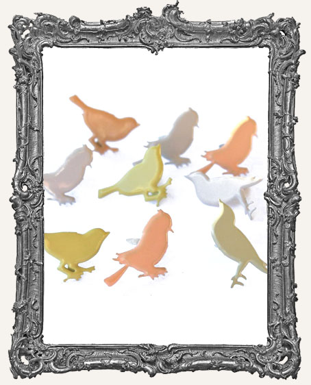 Pastel Sitting Bird Brads - 12 Piece