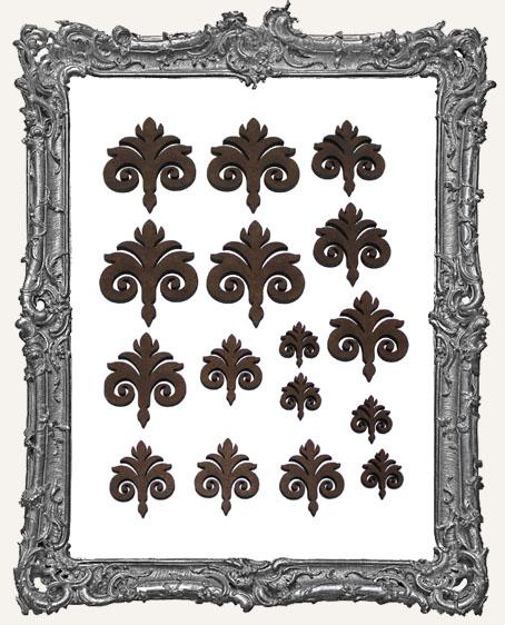 Ornate Fleur Cut-Outs - Style 3 - 16 Pieces