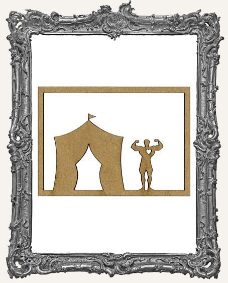 ATC Frame - Circus Tent and Muscle Man