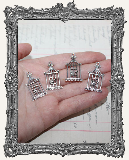 Antique Silver Filigree Birdcage Charms - Set of 4
