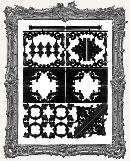 German Dresden BLACK Victorian Corners and Frames 24 Piece