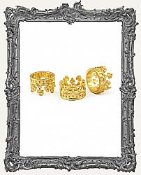 Small Ornate 24K Gold Plated 3-D Crown Charm