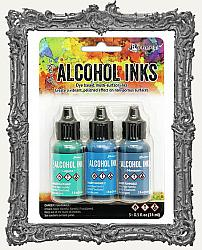 Ranger Ink - Tim Holtz - Alcohol Inks - 3 Pack - Teal Blue Spectrum