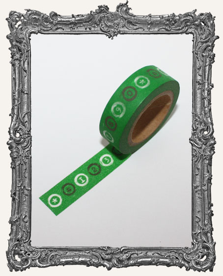 Washi Tape - Green Number and Symbol Circles