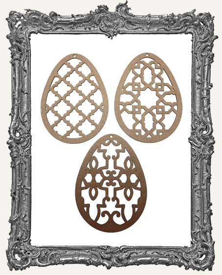 Chipboard Ornate Eggs - Set of 3