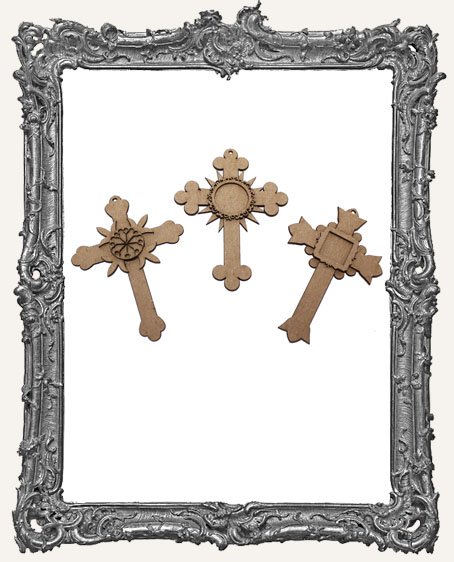 Chipboard Small Cross Tags - Set of 3