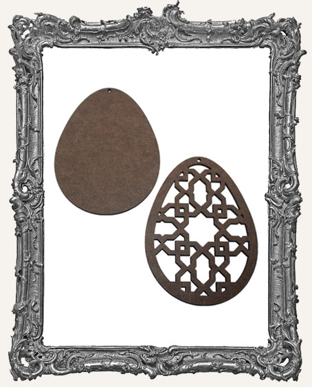 Layered Masonite Ornate Egg Ornament - Style 2
