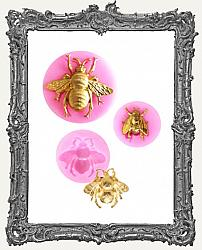 Small Pink Silicone Mold - Set of Three Bee Molds