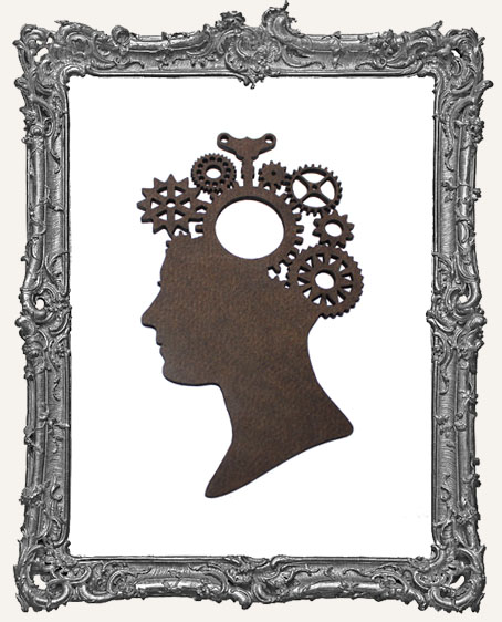 Layered Masonite Steampunk Cameo Woman Ornament