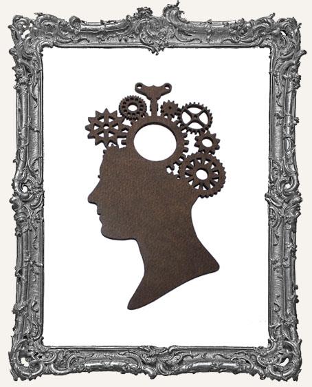 Layered Masonite Steampunk Cameo Woman Ornament