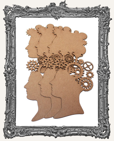 Chipboard Steampunk Cameo Woman - Set of 3