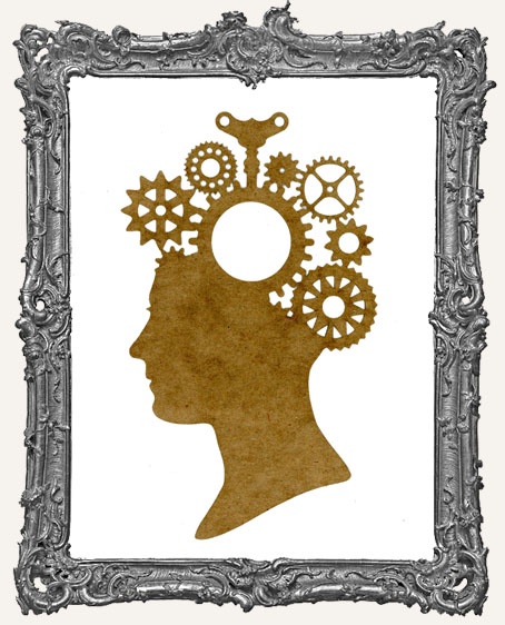LARGE Steampunk Cameo Woman Mask Stencil