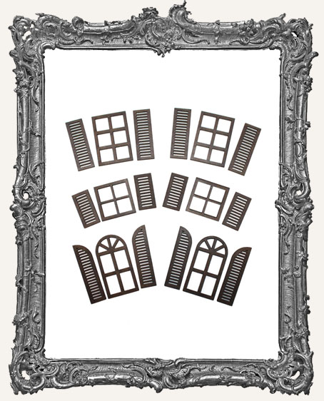Windows With Shutters Cut Outs - 6 Sets
