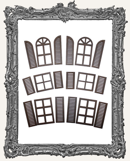 Extra Large Windows With Shutters Cut Outs - 2 Sets