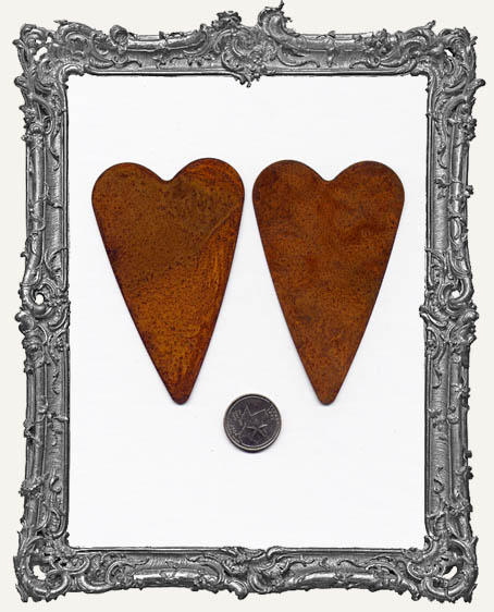 Rusty Tin 3.75 Inch Primitive Heart PACK OF 2