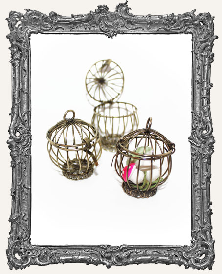 Large Brass 3-D Bird Cage or Basket Charm