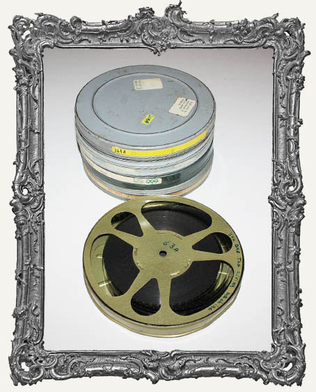 One Large Round Vintage Filmstrip Cannister with Film