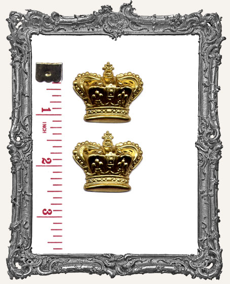 Large Brass 3-D Crowns - Set of 2