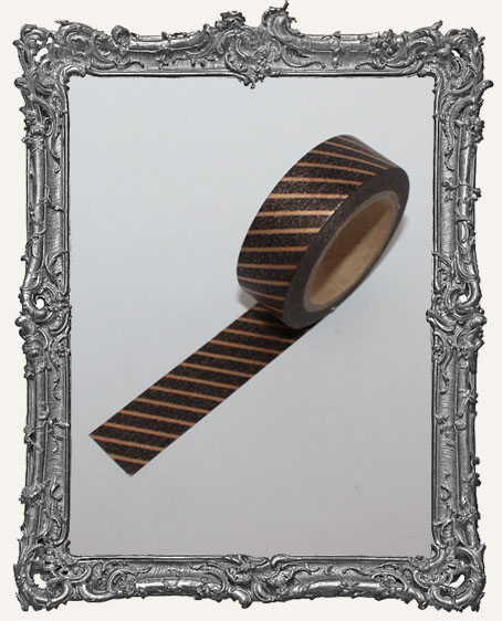 Washi Tape - Antique Gold and Black Stripe