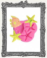 Small Pink Silicone Mold - Fish and Starfish Set