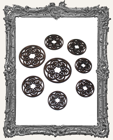 Fancy Round Fleur Cut-Outs - 8 Pieces