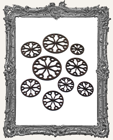 Round Stained Glass Window Cut-Outs - 9 Pieces