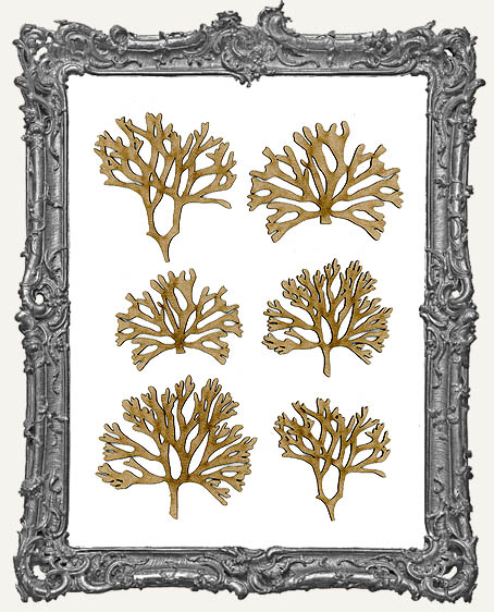 Chipboard Coral Cut-Outs - Style 1 - 6 Pieces