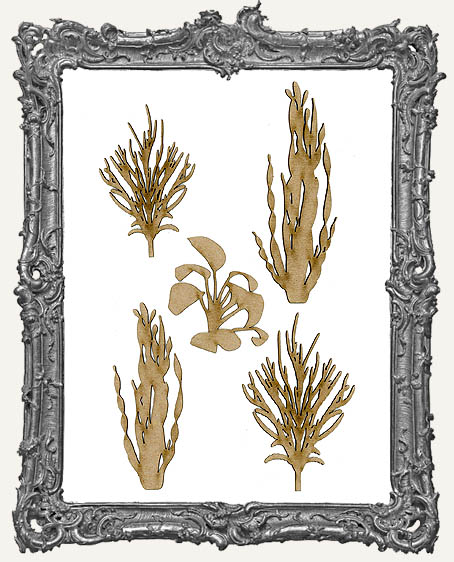 Chipboard Seaweed Cut-Outs - Style 1 - 5 Pieces
