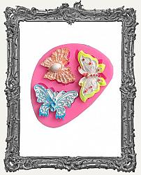 Small Pink Silicone Mold - Three Ornate Butterflies