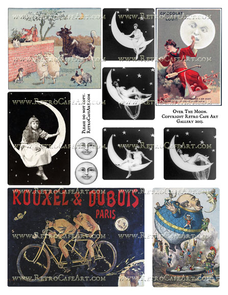 Over The Moon Collage Sheet